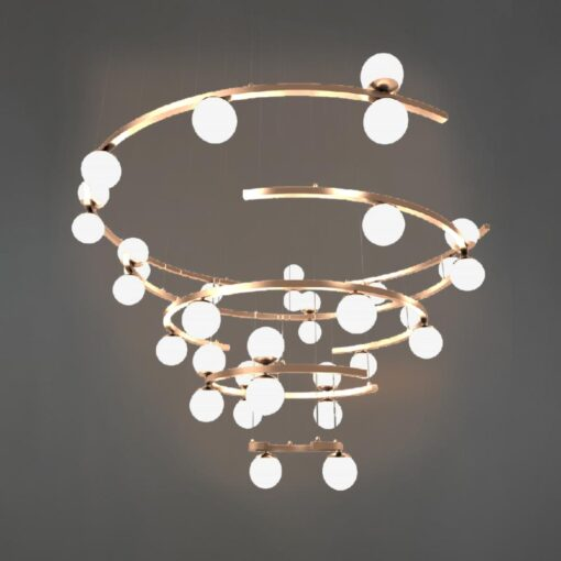 Polished Copper Tiered Spiral Chandelier