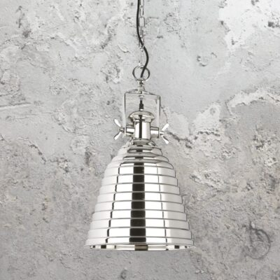 Polished Nickel Ribbed Pendant Light