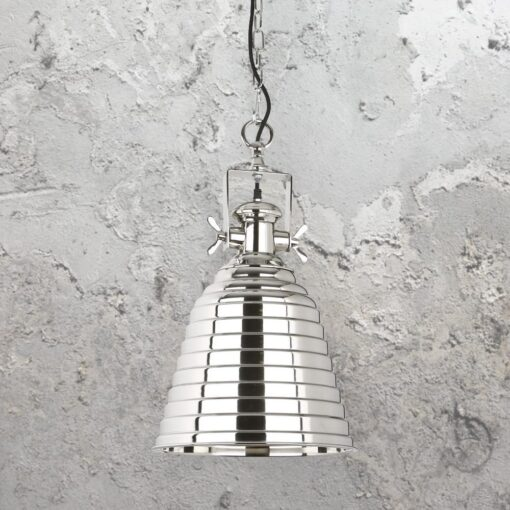 Polished Nickel Ribbed Pendant Light