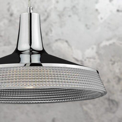 Prismatic Glass Polished Chrome Pendant Light