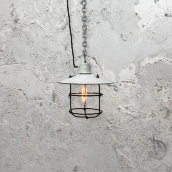 Reclaimed Enamel Cage Pendant Light