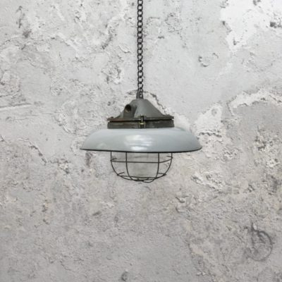 Reclaimed Grey Enamel Pendant Light