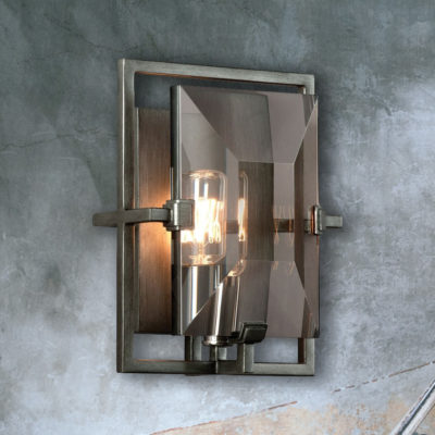 Rectangular Bevelled Glass Wall Light