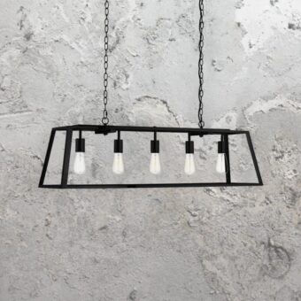 5 Light Rectangular Clear Glass Pendant Light