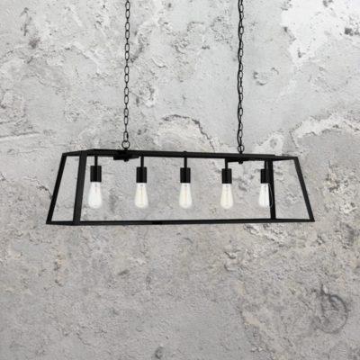 5 Light Rectangular Clear Glass Pendant Light