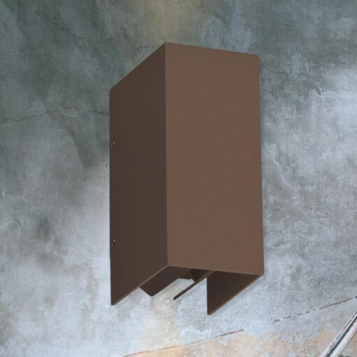 Rectangular Rust Outdoor Wall Light