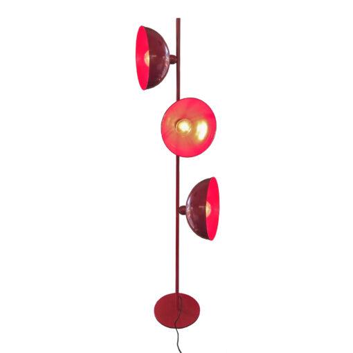 Red 3 Light Retro Floor Lamp