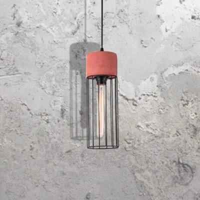Red Concrete Caged Pendant