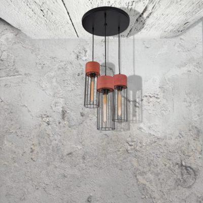Red Concrete Cluster Pendant