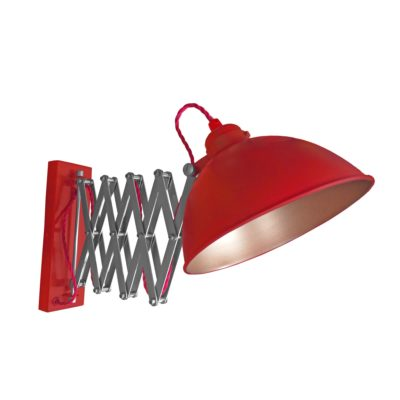 Red Scissor Arm Wall Light Bronze Inner