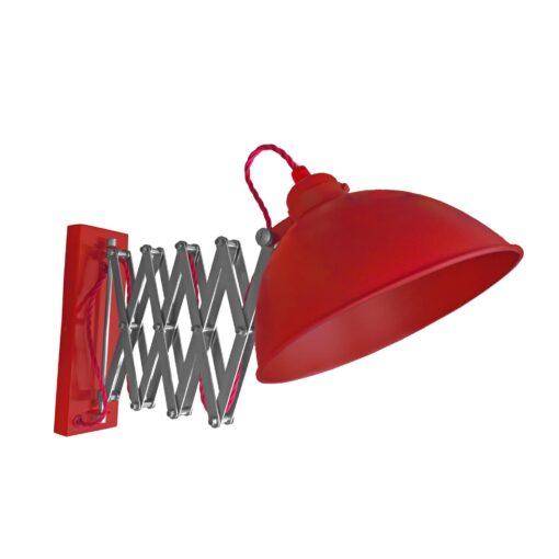 Red Scissor Arm Wall Light