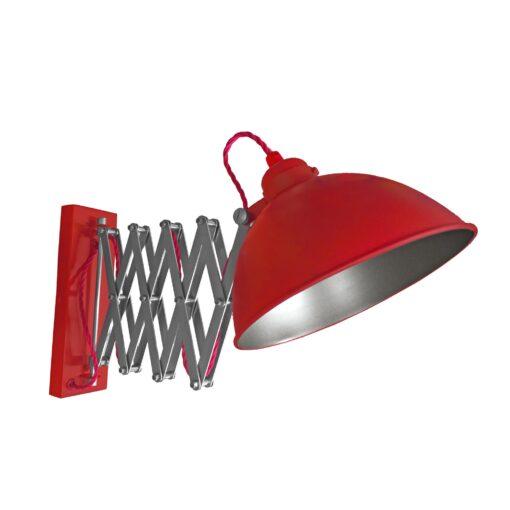 Red Scissor Arm Wall Light Gunmetal Inner