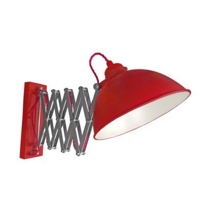 Red Scissor Arm Wall Light White Inner