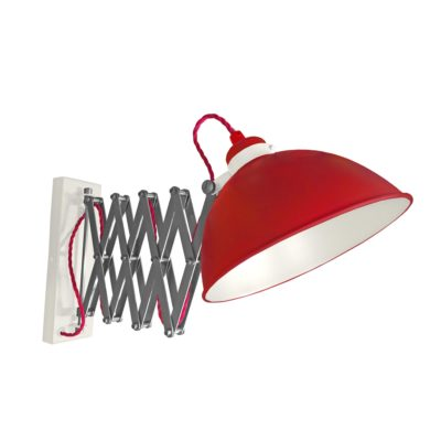 Red Scissor Arm Wall Light White Inner