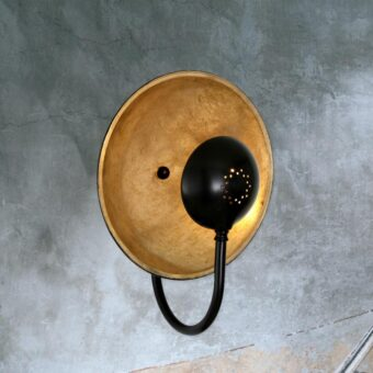 industrial round reflective dish wall light fitting,Reflective Antique Brass Dish Wall Light