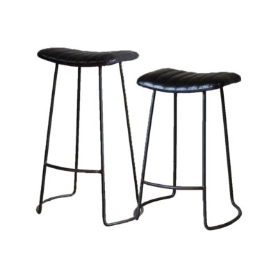 Ribbed Buffalo Leather Bar Stool