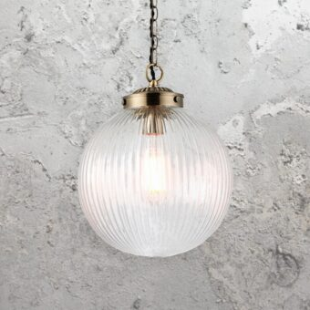 Ribbed Clear Glass Globe Pendant Light