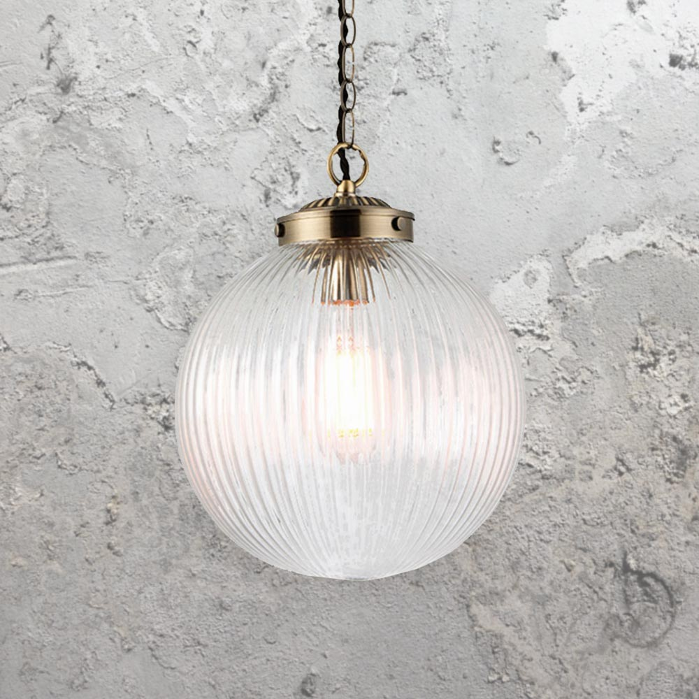 Ribbed clear glass globe pendant light cl 34391