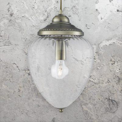 Ribbed Glass Acorn Pendant Lamp
