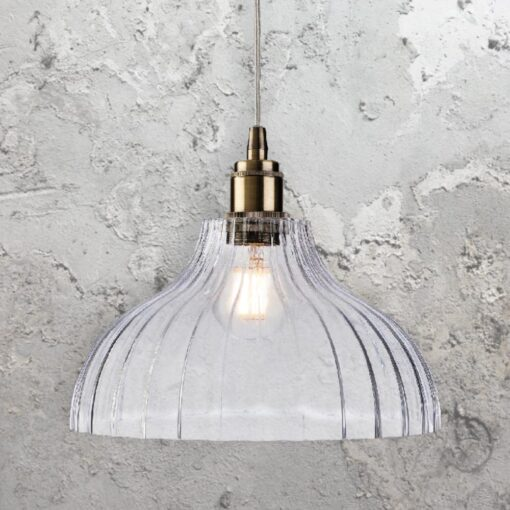 Industrial Ribbed Glass Dome Pendant Light