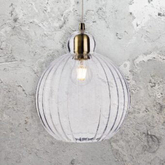 Industrial Ribbed Glass Globe Pendant Light
