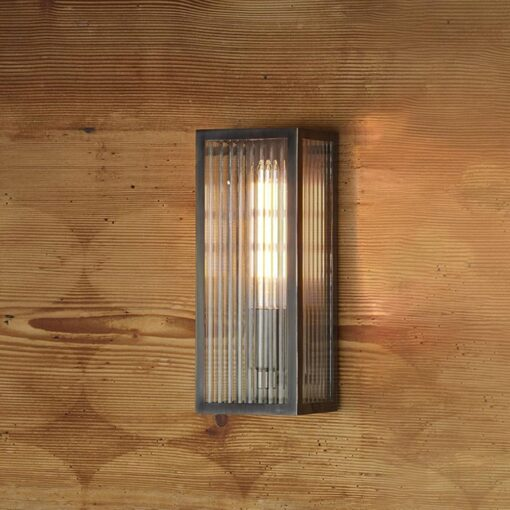Ribbed Glass Outdoor Wall Light