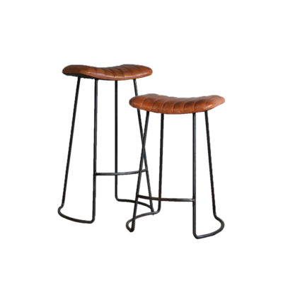 Ribbed Leather Bar Stool