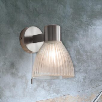 Ribbed Nickel Bathroom Wall Light