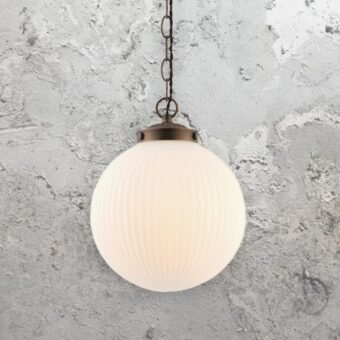 Ribbed Round Glass Pendant Light