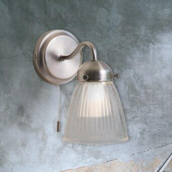 Ribbed Swan Neck Bathroom Wall Light