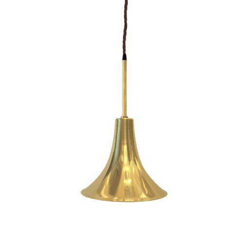 Polished Brass Rod Trumpet Pendant Light