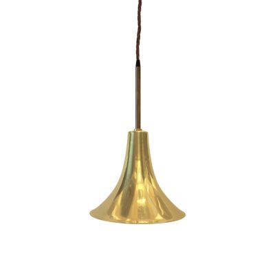 Antique Brass Rod Trumpet Pendant Light