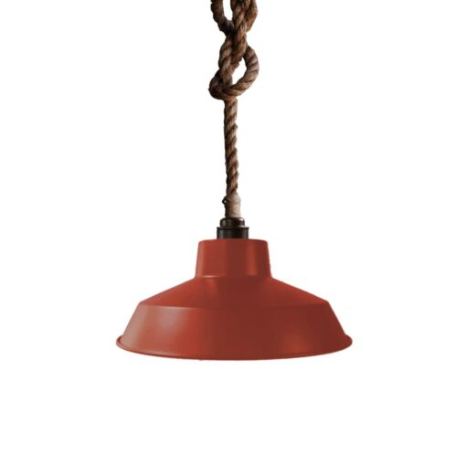 Industrial Rope Pendant Light Cherry Red