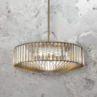 Round Antique Brass Crystal Chandelier