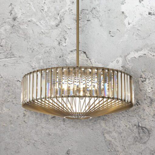 Round Antique Brass Crystal Chandelier