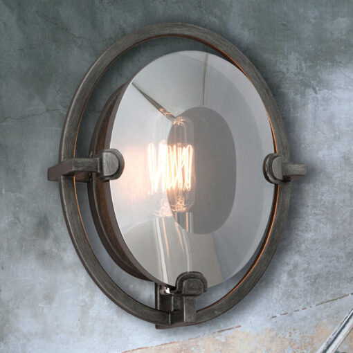 Round Bevelled Glass Wall Light