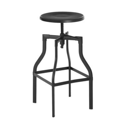 Round Black Industrial Bar Stool