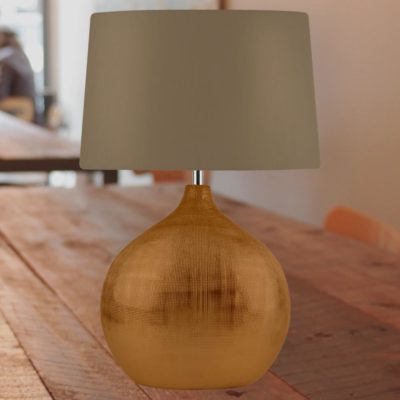 Round Bronze Table Lamp with Brown Shade