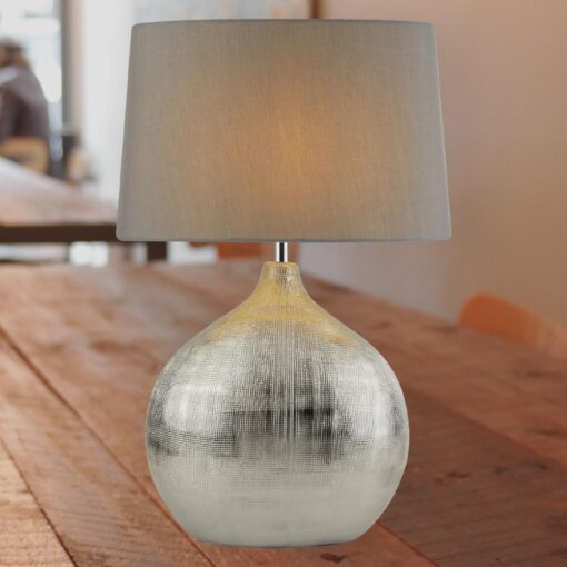 Round Chrome Table Lamp with Grey Shade