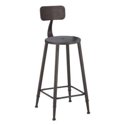 Round Distressed Metal Bar Stool