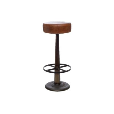 Round Leather Bar Stool