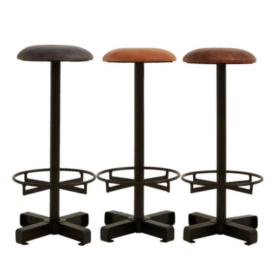 Round Leather Iron Bar Stool
