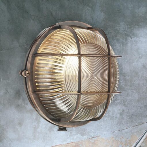 Antique Copper Round Outdoor Bulkhead Fitting