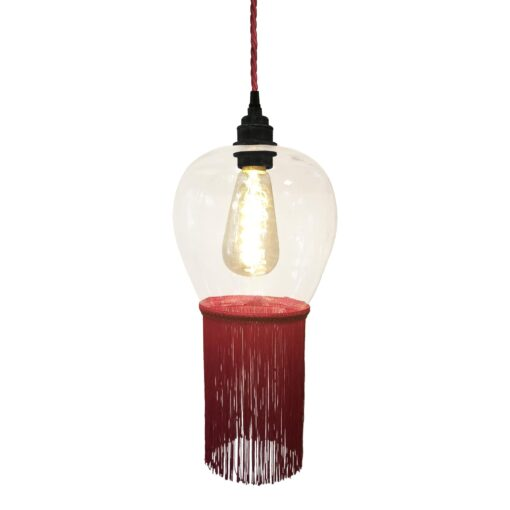 Ruby Red Fringe Glass Pendant Light