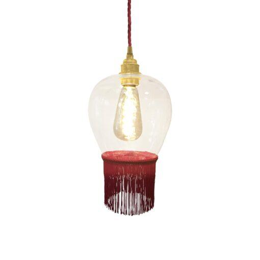 Ruby Red Fringe Glass Pendant Light