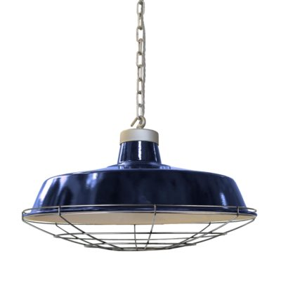 Rusted Steel Cage Blue Enamel Pendant Light
