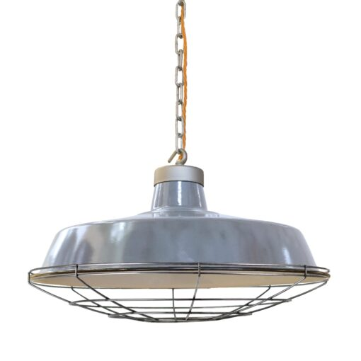 Rusted Steel Cage Grey Enamel Pendant Light