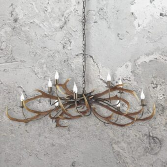 Rustic 10 Light Antler Chandelier