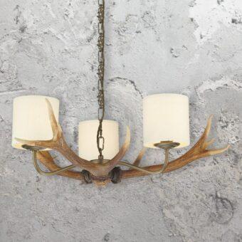 Rustic 3 Light Cream Shades Antler Chandelier
