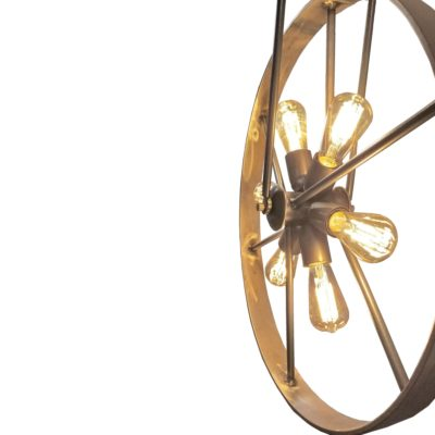 Rustic 6 Light Bicycle Wheel Pendant
